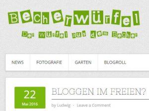 Bloggen im Freien. Beitrag von Ludwig