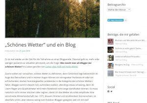 Die Lebensseite mit dem Beitrag zur Blogparade